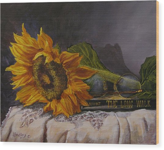 Sunflower And Book Wood Print
