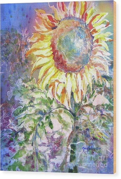 Sunflower And Grasshopper Wood Print