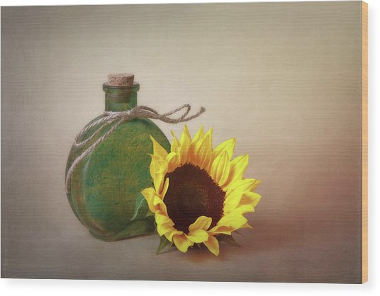 Sunflower And Green Glass Still Life Wood Print