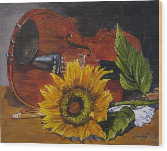 Sunflower And Violin Wood Print