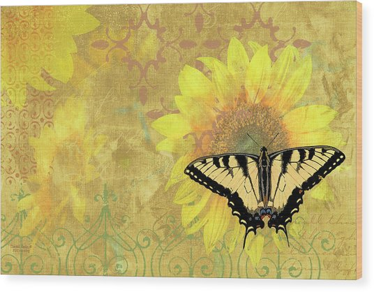 Sunflower Butterfly Yellow Gold Wood Print