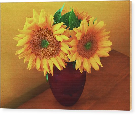 Sunflower Corner Wood Print