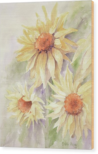 Sunflower Dreams Wood Print by Bobbi Price