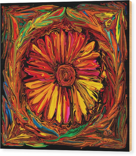 Sunflower Emblem Wood Print