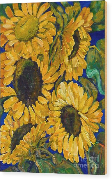 Sunflower Faces Wood Print