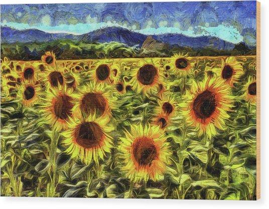 Sunflower Field Van Gogh Wood Print