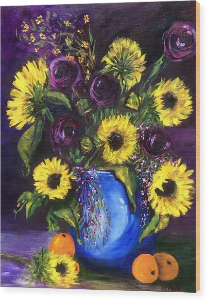 Wood Print featuring the painting Sunflower Frenzy by Patti Ferron