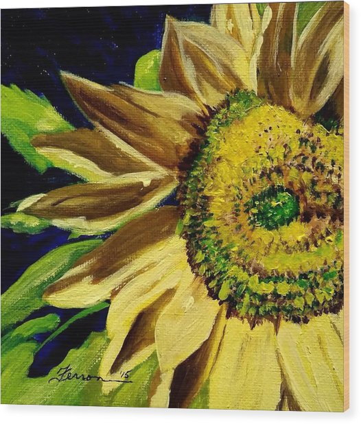 Wood Print featuring the painting Sunflower Glow by Patti Ferron