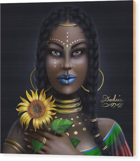 Sunflower Goddess  Wood Print