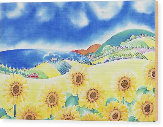 Sunflower Hills Wood Print