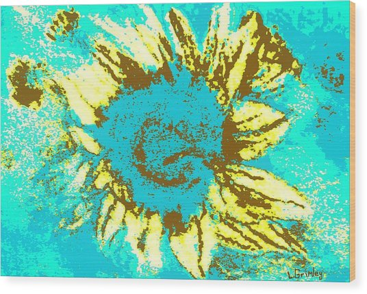Sunflower Wood Print by Lessandra Grimley