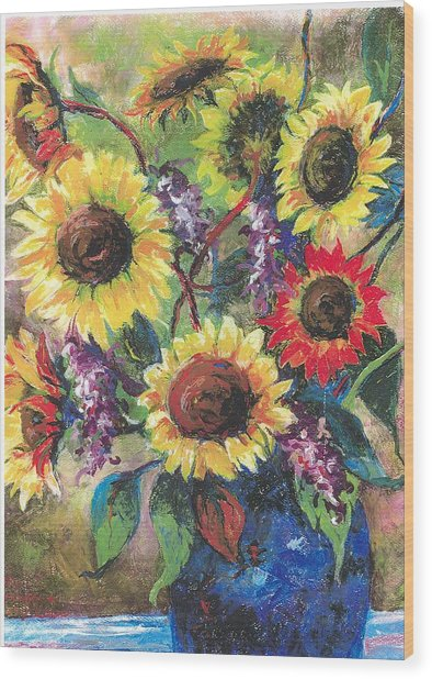 Sunflower Medley Wood Print by Grace Goodson