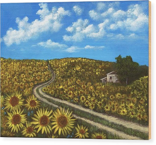 Wood Print featuring the painting Sunflower Road by Anastasiya Malakhova