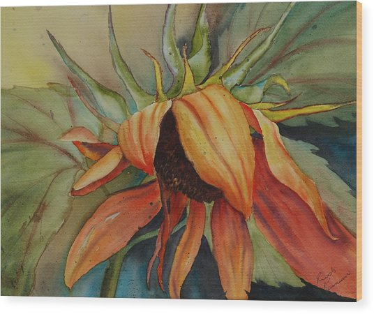 Wood Print featuring the painting Sunflower by Ruth Kamenev