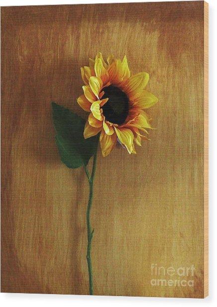 Sunflower Standing Wood Print by Marsha Heiken