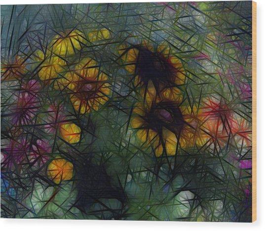 Sunflower Streaks Wood Print