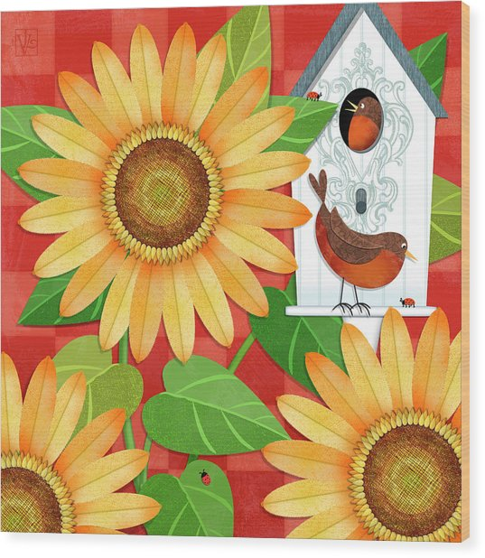 Sunflower Surprise Wood Print