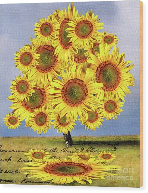 Sunflower Tree Wood Print