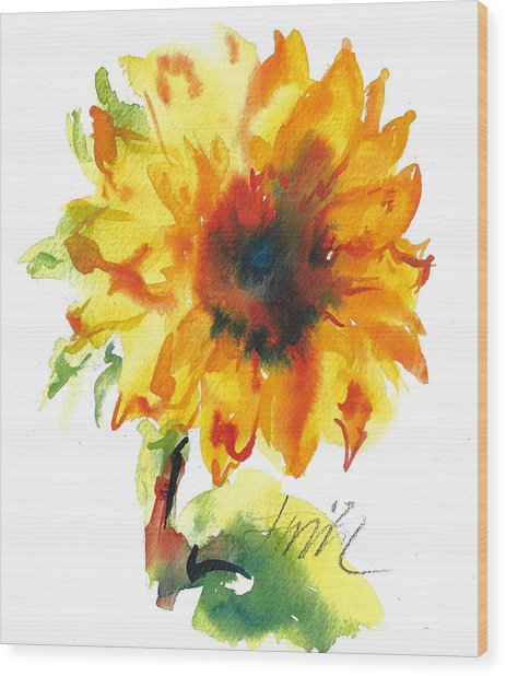 Sunflower With Blues Wood Print