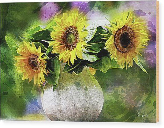 Sunflowers 13...26.16 Yellow Symbolised Happiness Wood Print