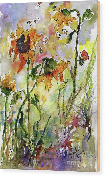 Sunflowers And Bees Garden Wood Print