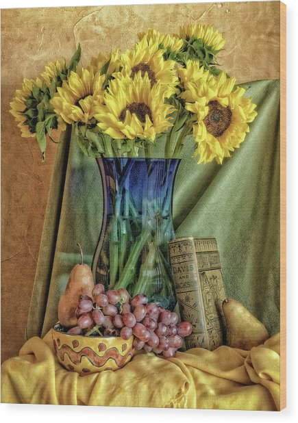 Sunflowers And Blue Vase Wood Print