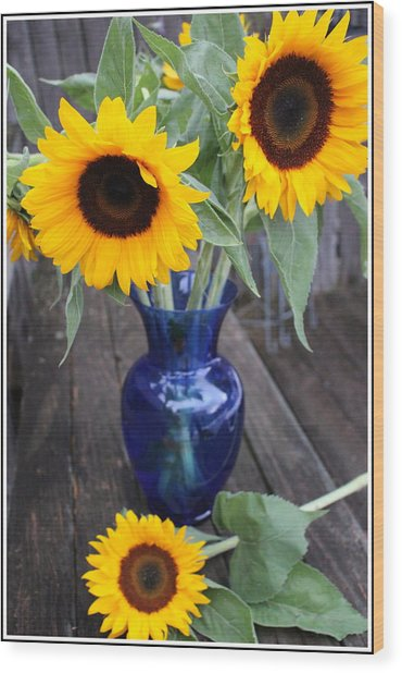 Sunflowers And Blue Vase - Still Life Wood Print