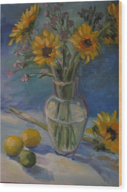Sunflowers And Citrus Wood Print