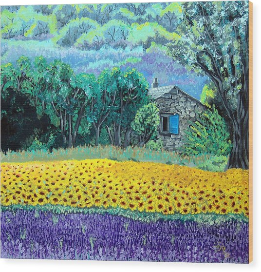 Sunflowers And Lavender Wood Print