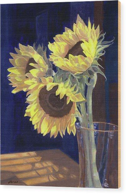 Sunflowers And Light Wood Print