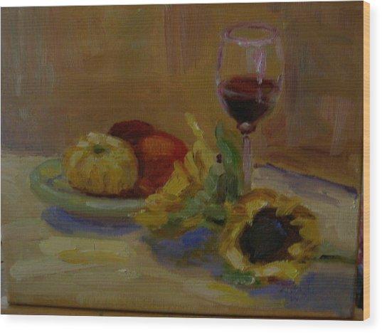 Sunflowers And Wine Wood Print