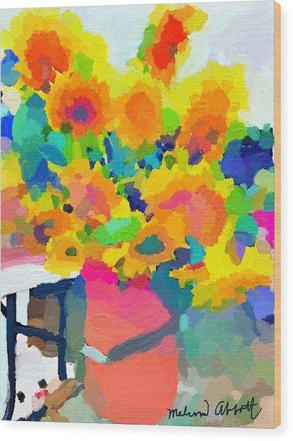 Sunflowers At Rockport Farmer's Market Wood Print
