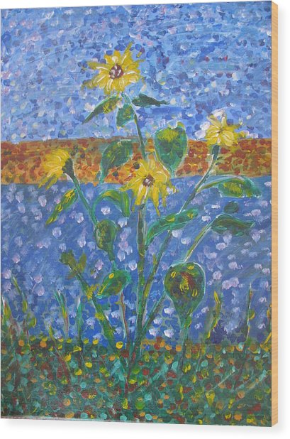 Sunflowers Bursting Wood Print by Dennis Poyant