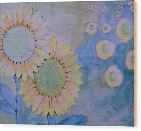 Sunflowers Wood Print by Donielle Boal