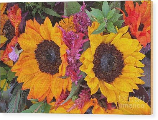 Sunflowers Eyes Wood Print
