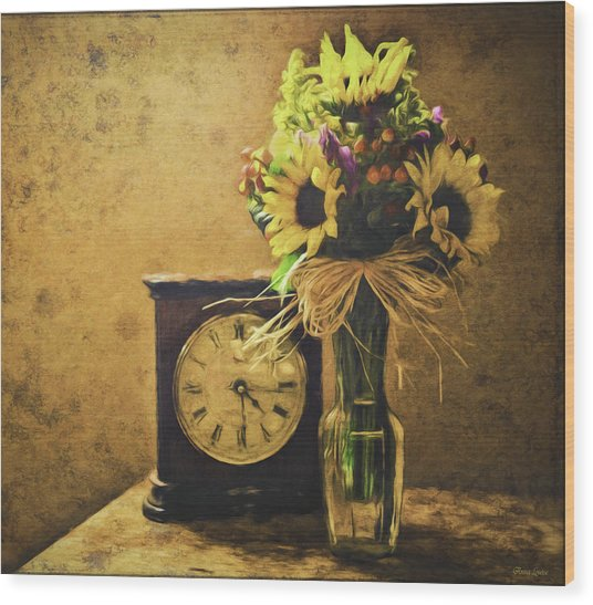 Sunflowers Floral Still Life 3 Wood Print