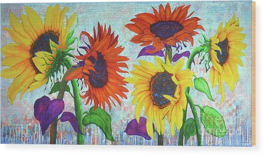 Sunflowers For Elise Wood Print