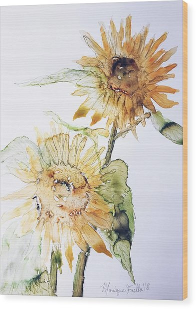 Sunflowers II Uncropped Wood Print