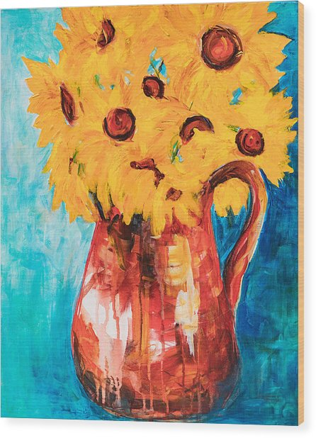 Sunflowers In A Pitcher Wood Print