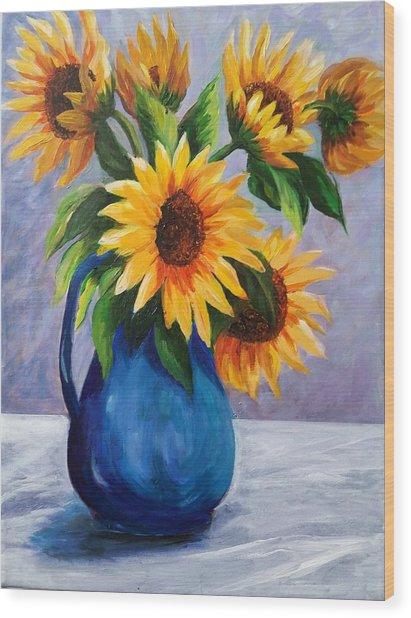 Sunflowers In Bloom Wood Print