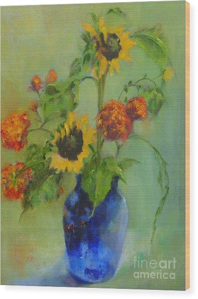 Sunflowers In Blue          Copyrighted Wood Print by Kathleen Hoekstra