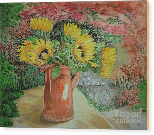 Sunflowers In Copper Wood Print