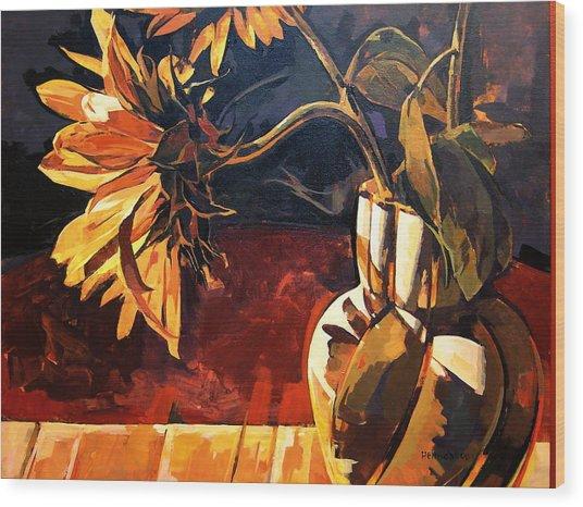 Sunflowers In Italian Vase Wood Print