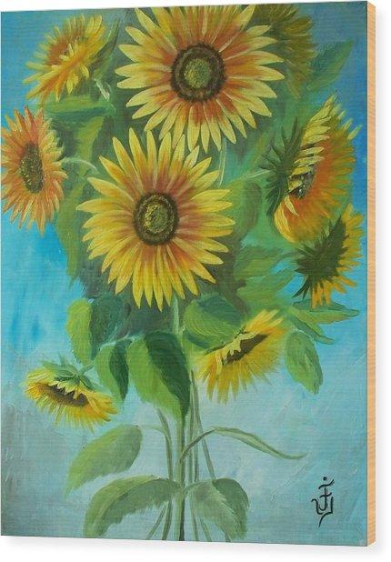 Sunflowers Wood Print by Jose Velasquez