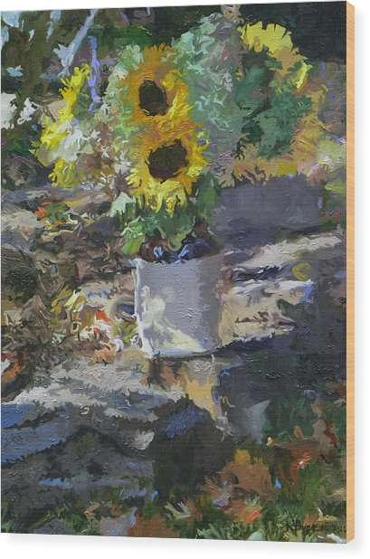 Sunflowers Wood Print by Kenneth Young