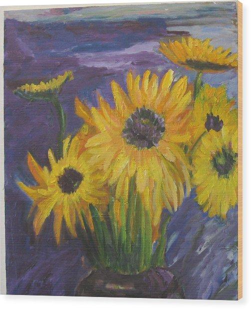 Sunflowers Of My Mind Wood Print