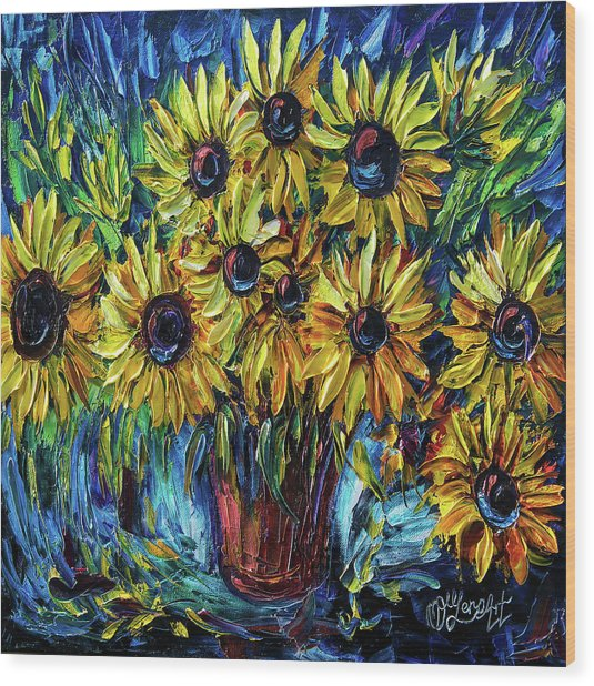 Sunflowers  Palette Knife Wood Print