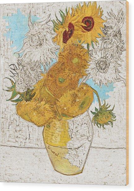 Sunflowers Van Gogh Digital Art Wood Print