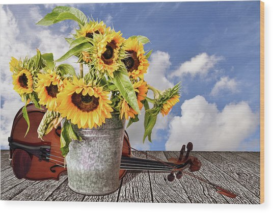 Sunflowers With Violin Wood Print