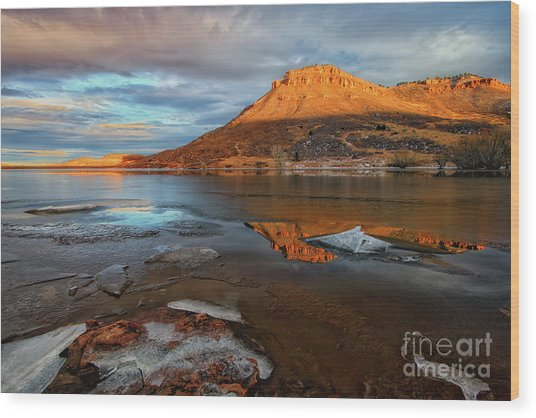 Sunlight On The Flatirons Reservoir Wood Print